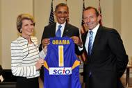 Austrian PM Julia Bishop, US President Barack Obama and 'Blue-Tie' Man.