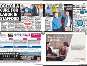 The Sunday Mail dedicated half a double page spread on pages 16-17 on the 18.6pc swing to Labor.