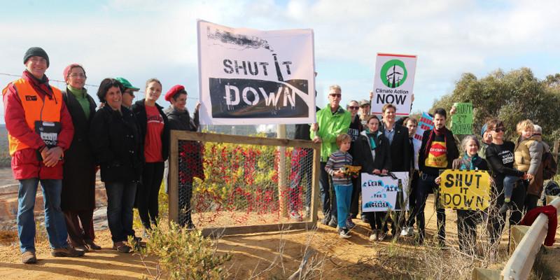 A protest at the edge of the Anglesea coal mine. Photo: John Englart