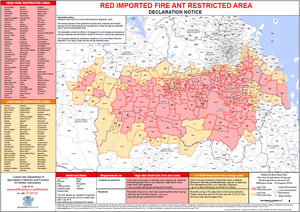 The DAFF fire ant restricted zones show spread of the infestation.