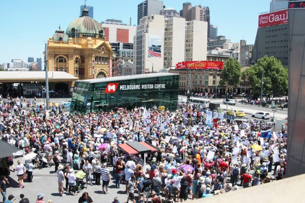 Crowd at Federation Square in Melbourne on Sunday protesting against Abbott Government ABC cuts. Photo John Englart