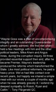 Tony Fitzgerald QC remembers reformer Wayne Goss.