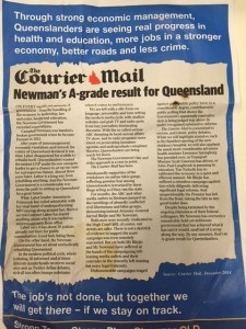 15/12/14 The Courier Mail editorial converted into a LNP letterbox election flyer