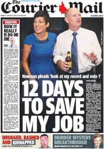19/01/15 The Courier Mail  - Newman pleads 'look at my record and vote 1' - 12 Days To Save My Job