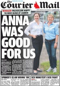 20/01/15 The Courier Mail  - Reveald Palaszczuk happy to have Bligh at launch - Anna Was Good For Us