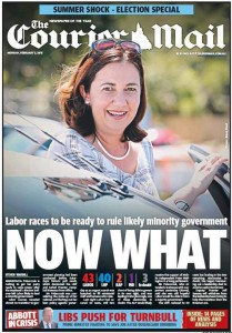 02/02/15 The Courier Mail - Labor races to be ready to rule likely minority government - Now What.