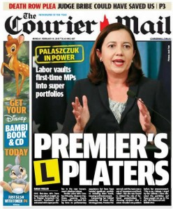 16/02/15 The Courier Mail - Labor vaults first-time MPs into super portfolios - Premiers L Platers.