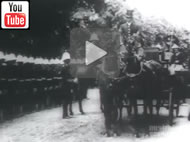 Lord Lamington, Governor of Queensland, arriving by horse-drawn carriage to open Queensland Parliament on 18 May 1899.