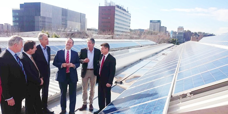 Mr Shorten views UNSW's rooftop solar panels with UNSW Engineering Dean Mark Hoffman, President and Vice-Chancellor Ian Jacobs, Professor Stuart Wenham, Professor Martin Green and Labor member Matt Thistlethwaite. Photo: Robert Largent.