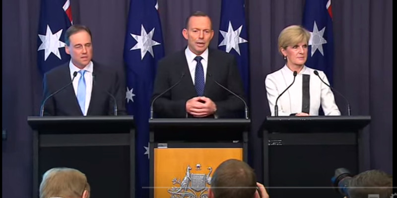 Greg Hunt, Tony Abbott and Julie Bishop announcing Australia's post 2020 climate targets.