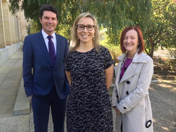 Senator Scott Ludlam, Greens candidate Dr. Vanessa Rauland, and Senator Rachel Siewert. Photo: Candidates Facebook page
