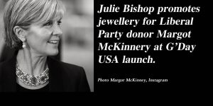 Julie Bishop models jewellery for Liberal Party donor