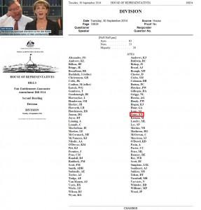 Ewan Jones votes for Fair Entitlements Guarantee Amendment Bill 2014