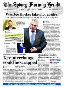 The Sydney Morning Herald - Was Joe Hockey Taken For A Ride, May 30, 2016.
