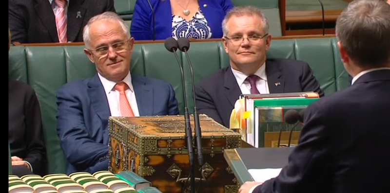 Malcolm Turnbull and Scott Morrison during Bill Shorten's budget reply speech
