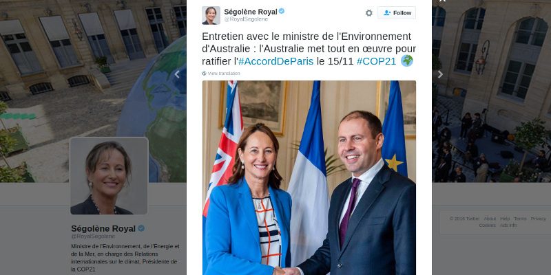Josh Frydenberg meets Segolene Royal in Paris