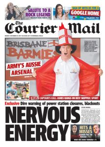 November 11, 2017 The Courier Mail - Nervous Energy