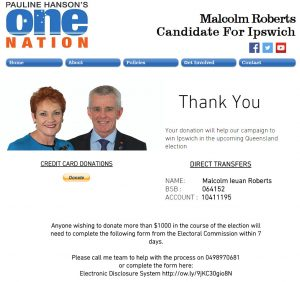 A screenshot of the page https://www.malcolmroberts4ipswich.com/donate