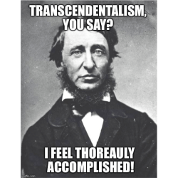"Image of Henry David Thoreau with text: ""Transcendentalism You Say? I Feel Thoreauly Accomplished!"""