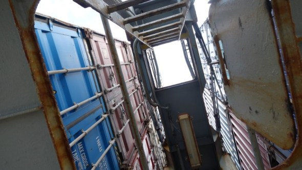 Looking up at containers