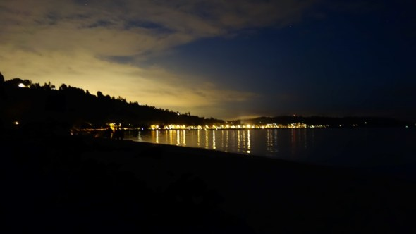 Seattle beach at night