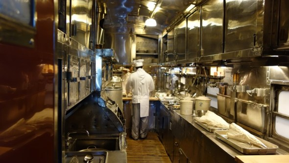 Kitchen from the dining car of the Santa Fe Super Chief