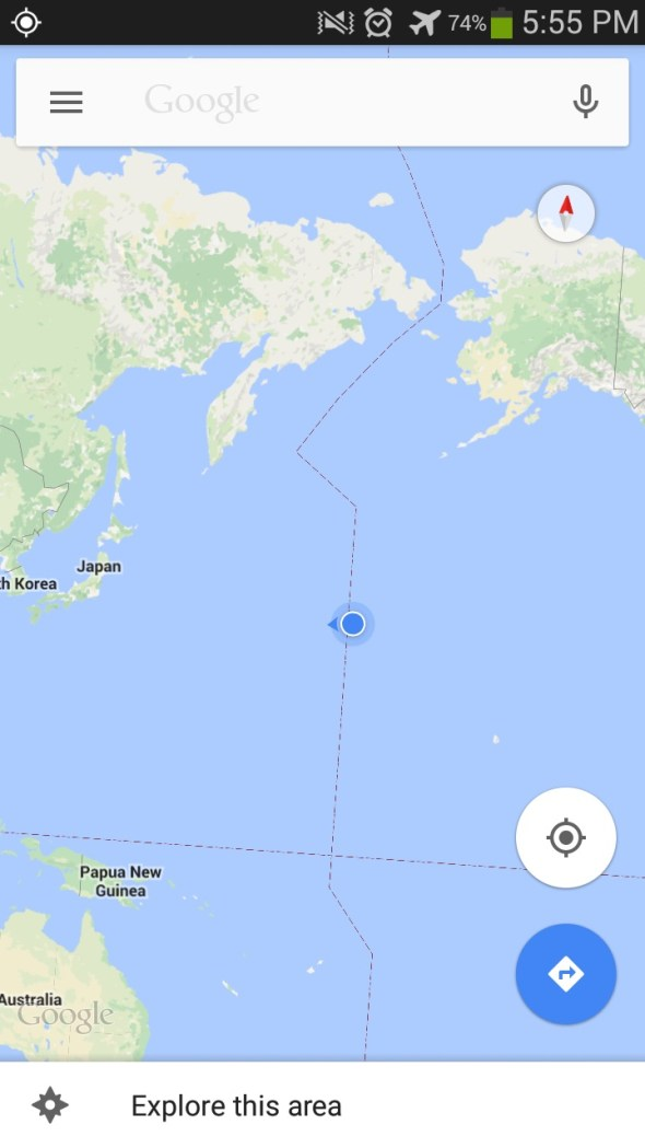 Google maps, gps location just east of the international dateline