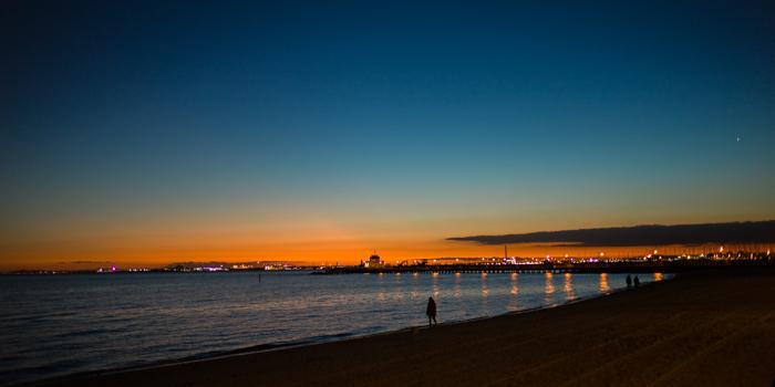 Melbourne, St Kilda, Setting sun