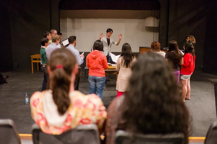 The chamber choir rehearsing
