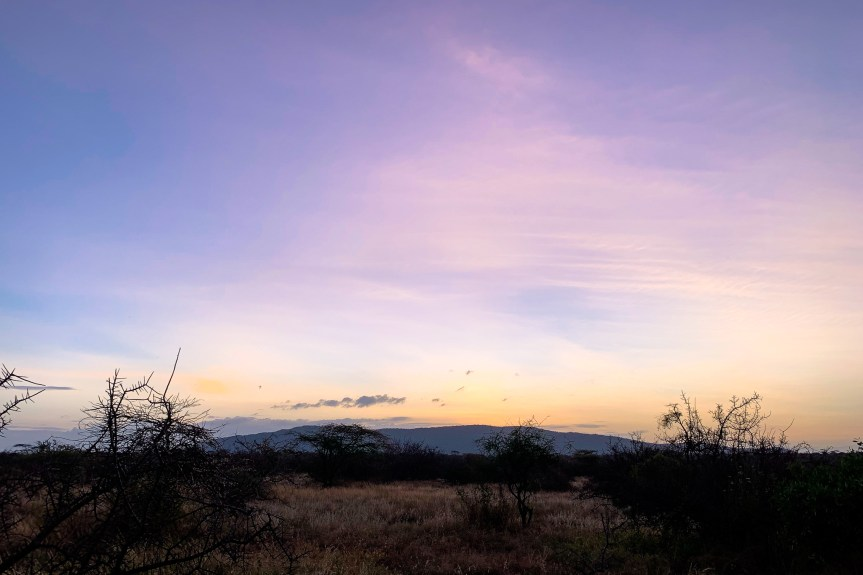 Purple sky at dusk with Mount Kenya in the distant at the Samburu National Park
