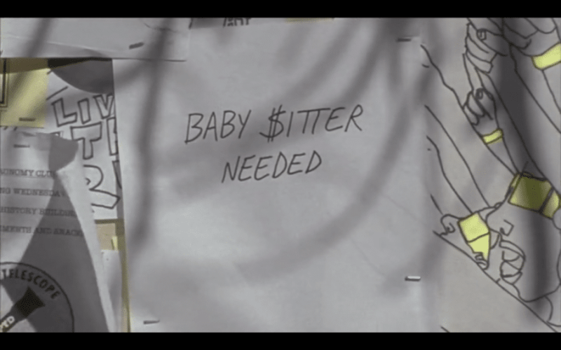 """A close-up shot of a flyer. It says """"Baby $itter Needed."""""""
