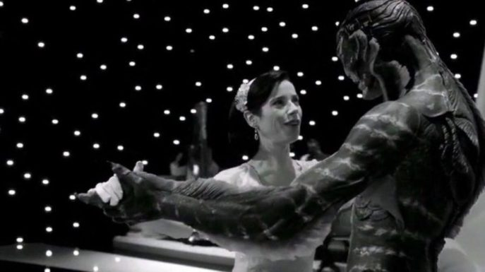 the shape of water black and white