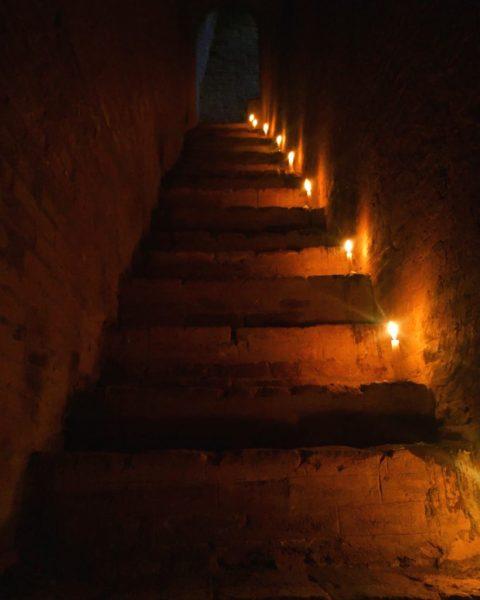 Candles and steps to the roof, North Guni (Myauk Guni), Bagan, Myanmar (Burma)