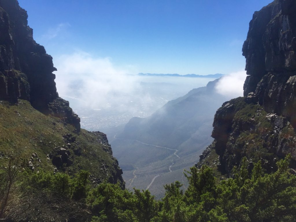 Gorge and misty blue sky view from Table Mountain