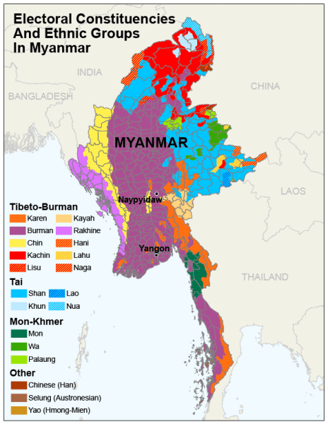 Myanmar Ethnic Group colored map