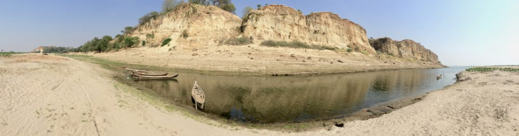 Low water levels, sandy banks and parched bluffs of the Irrawaddy River outside Yenangyaung