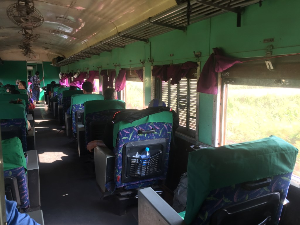 Upper class carriage on the Yangon train to Mawlamyine