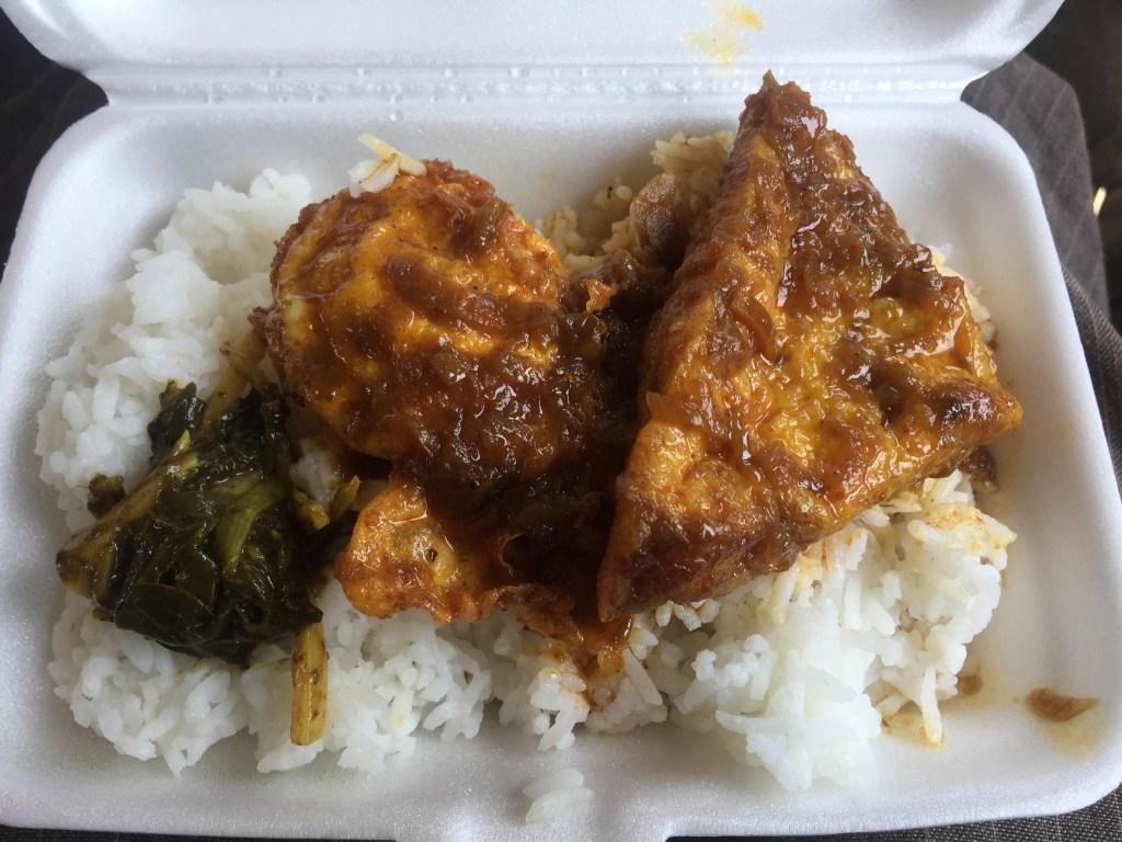 Vegetarian lunch in a white styrofoam box on the Yangon train to Mawlamyine
