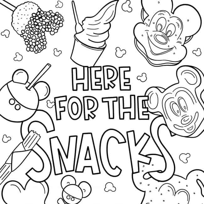 Disney Coloring Pages We Re Here For The Snacks