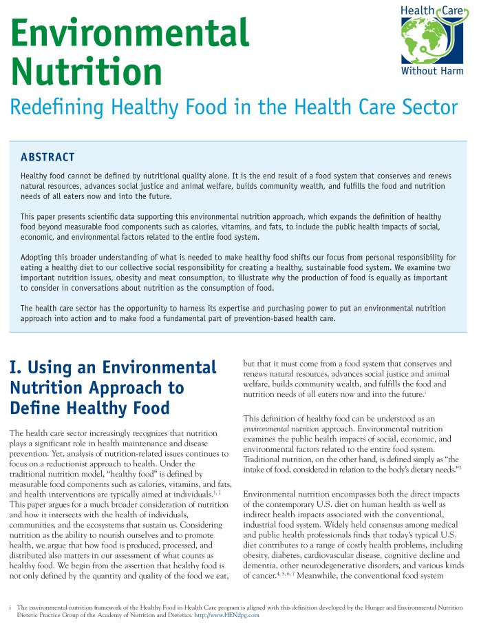 healthy food in health care | health care without harm