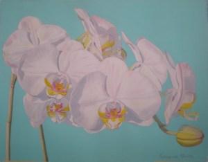 """Phalaenopsis Orchids"", 17"" x 21"" original watercolor by Fabienne Blanc"