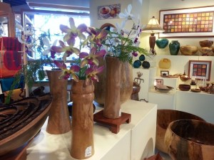 Turned wooden vases