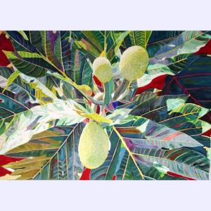 "Party of 3, watercolor by Fabienne Blanc, 29 x 30"" unframed"