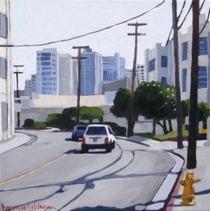 "Exploring Iwilei, original acrylic, Brenda Cablayan 10"" x 10"""