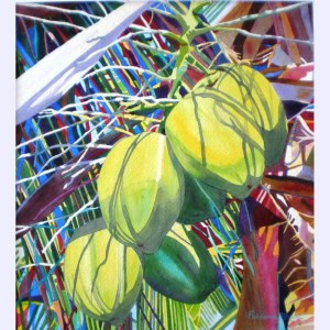 Yellow Coconuts watercolor by Fabienne Blanc 21 x 17 framed