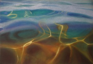 Fluid Light, oil on paper by Diana Lehr