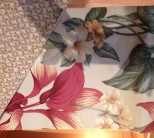 Hawaiian placemat, Akaka Falls print with lauhala print back.