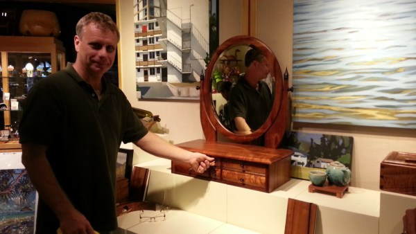 Koa vanity mirror with kolohala and mother of pearl inlays, one of a kind