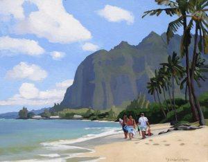 Brenda Cablayan original acrylic Beach Walk 22 x 28