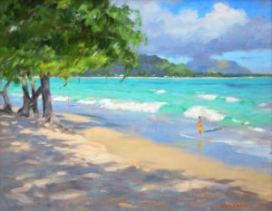 Mark Norseth original oil painting Kailua Sun and Shadows